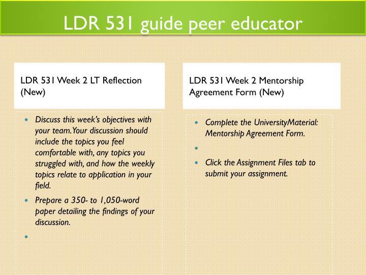 LDR 531 guide peer educator