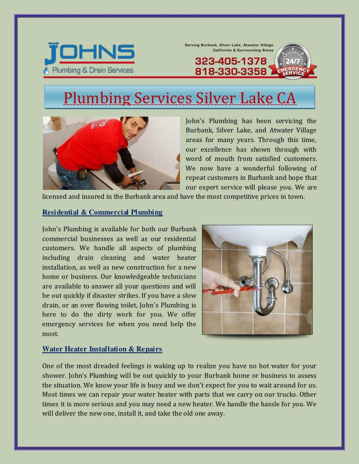 Plumbing Services Silver Lake CA