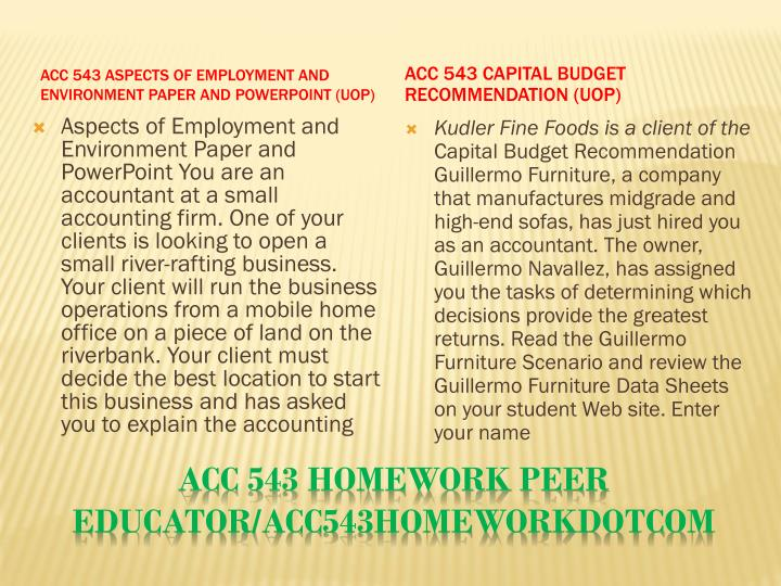 Acc 543 homework peer educator acc543homeworkdotcom1