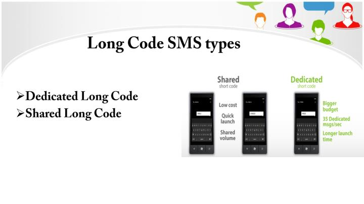 Long Code SMS types