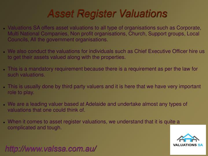 Asset Register Valuations