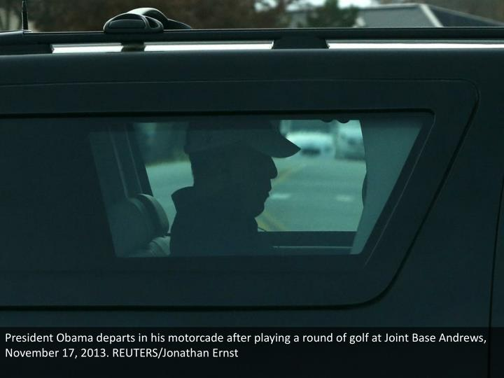 President Obama departs in his motorcade after playing a round of golf at Joint Base Andrews, November 17, 2013. REUTERS/Jonathan Ernst