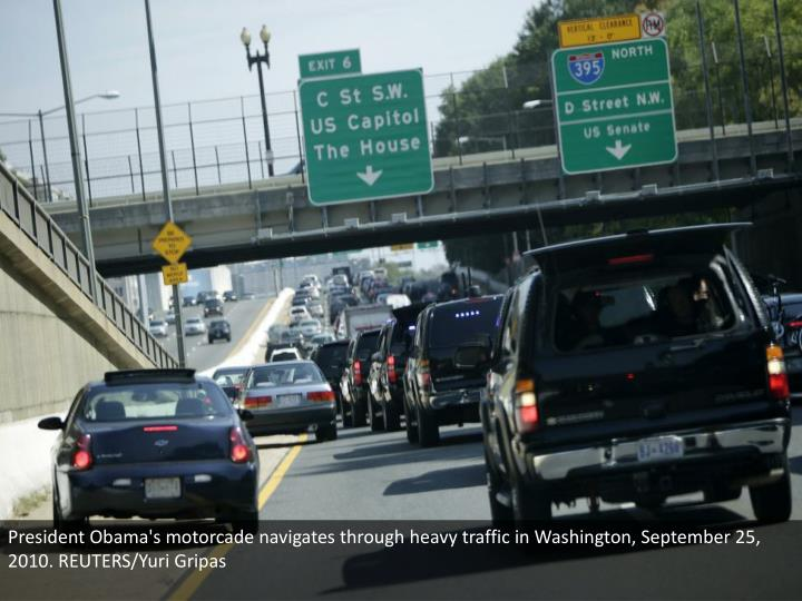 President Obama's motorcade navigates through heavy traffic in Washington, September 25, 2010. REUTERS/Yuri Gripas