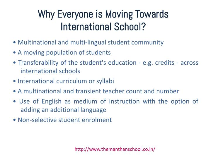 Why everyone is moving towards international school