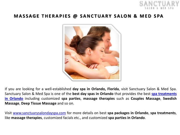 MASSAGE THERAPIES @ SANCTUARY SALON & MED SPA