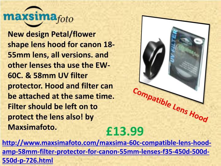 New design Petal/flower shape lens hood for canon 18-55mm lens, all versions. and other lenses