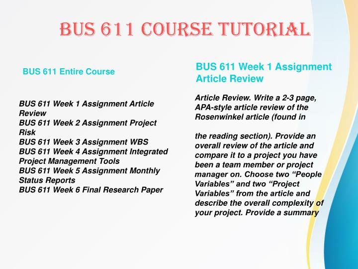 BUS 611 Entire Course