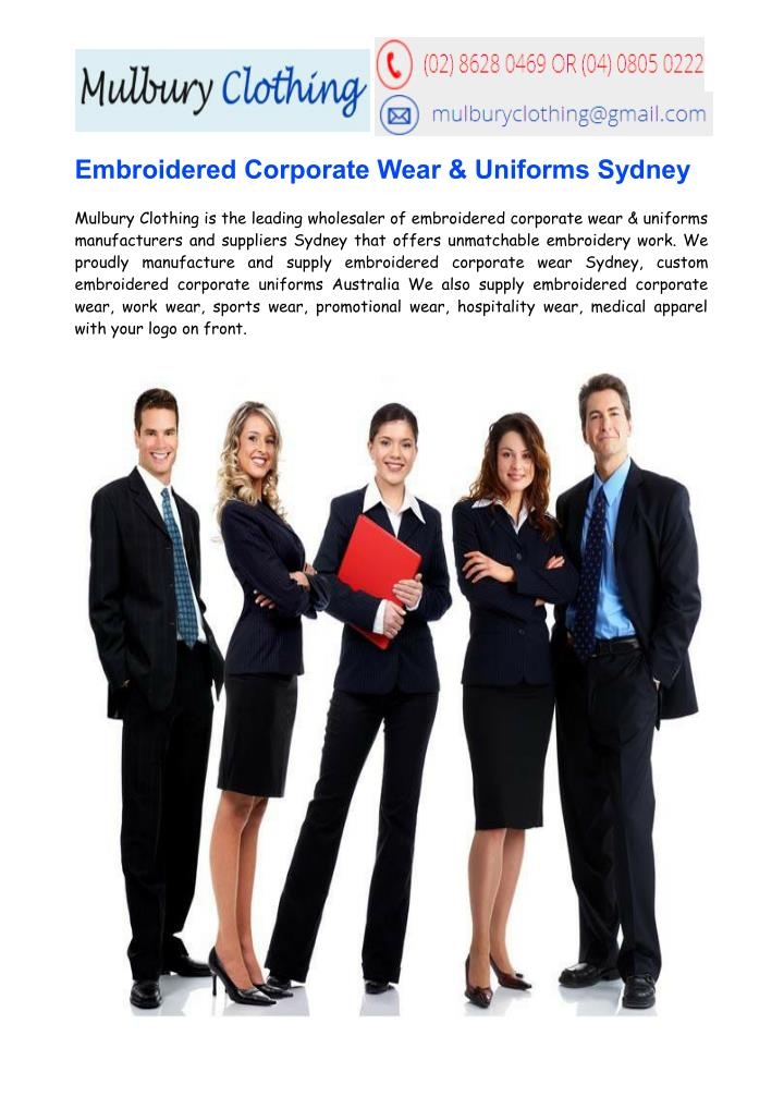 Embroidered Corporate Wear & Uniforms Sydney