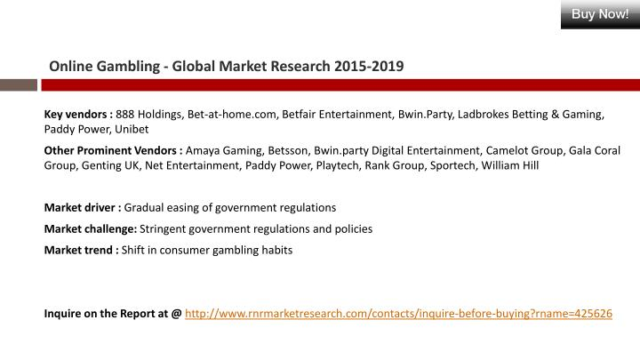Online Gambling - Global Market Research 2015-2019