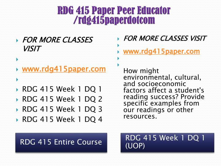 RDG 415 Paper Peer Educator /rdg415paperdotcom