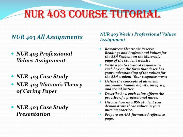NUR 403 Course