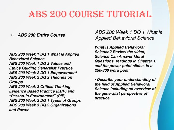 ABS 200 Entire Course
