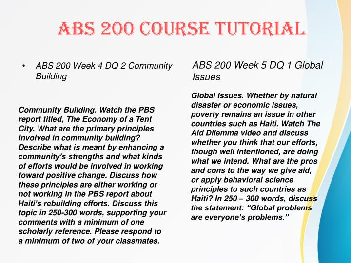 ABS 200 Week 4 DQ 2 Community Building
