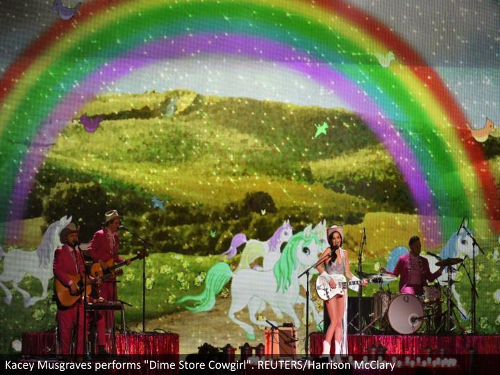 "Kacey Musgraves performs ""Dime Store Cowgirl"". REUTERS/Harrison McClary"