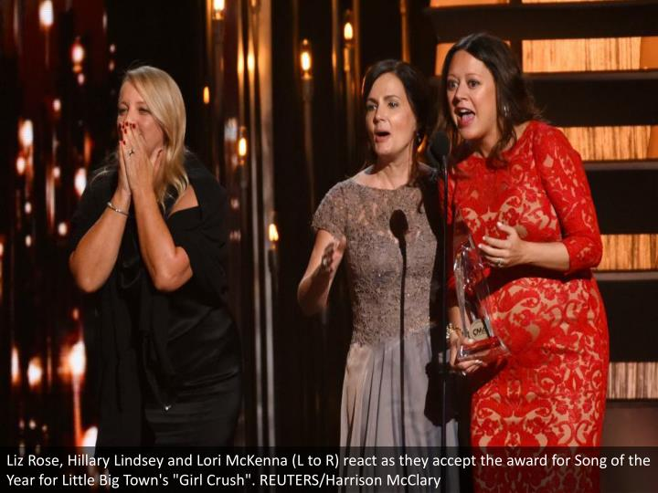 "Liz Rose, Hillary Lindsey and Lori McKenna (L to R) react as they accept the award for Song of the Year for Little Big Town's ""Girl Crush"". REUTERS/Harrison McClary"