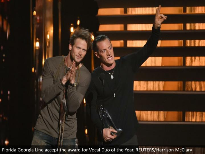 Florida Georgia Line accept the award for Vocal Duo of the Year. REUTERS/Harrison McClary