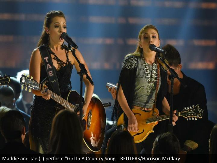 "Maddie and Tae (L) perform ""Girl In A Country Song"". REUTERS/Harrison McClary"