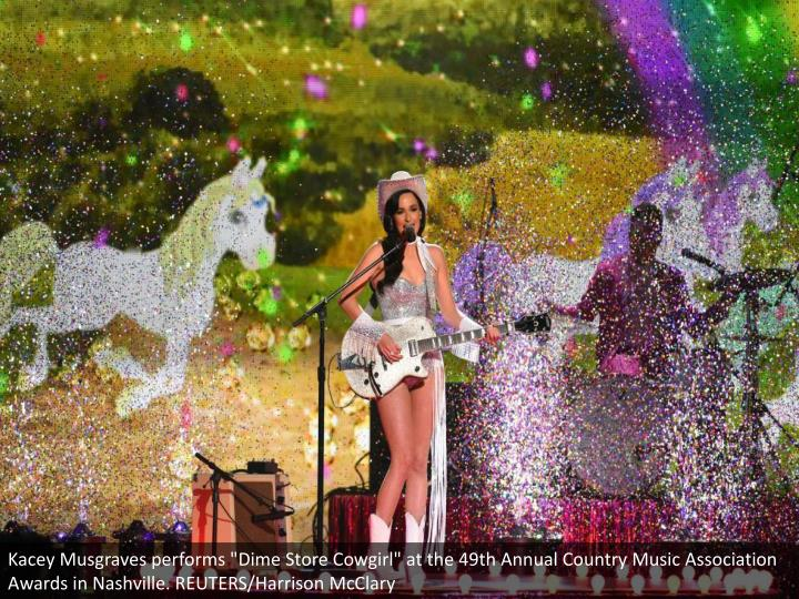 "Kacey Musgraves performs ""Dime Store Cowgirl"" at the 49th Annual Country Music Association Awards in Nashville. REUTERS/Harrison McClary"