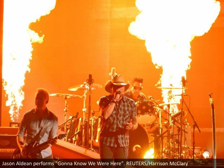 "Jason Aldean performs ""Gonna Know We Were Here"". REUTERS/Harrison McClary"