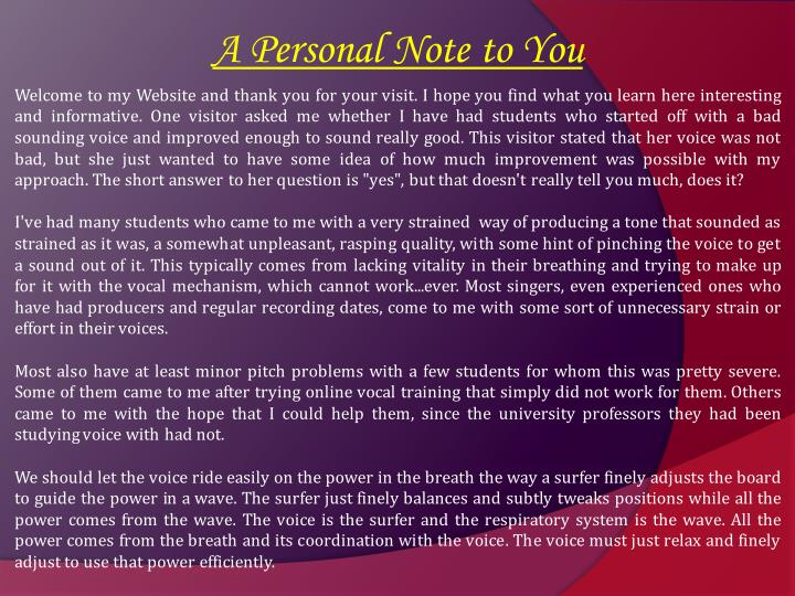 A Personal Note to You
