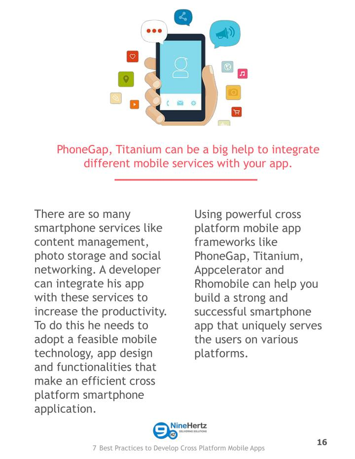 PhoneGap, Titanium can be a big help to integrate different mobile services with your app.