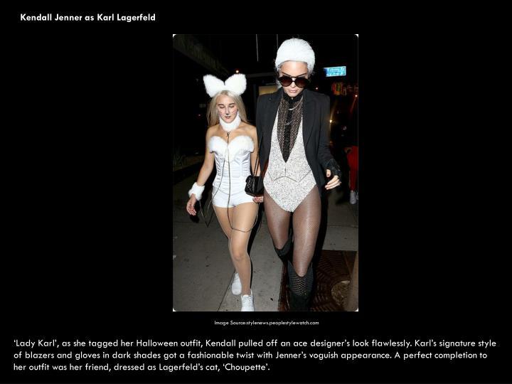 Kendall Jenner as Karl Lagerfeld