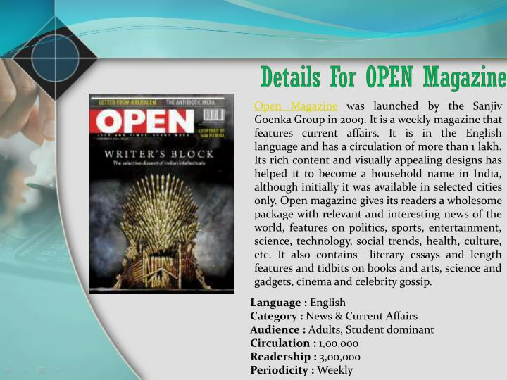 Details For OPEN Magazine
