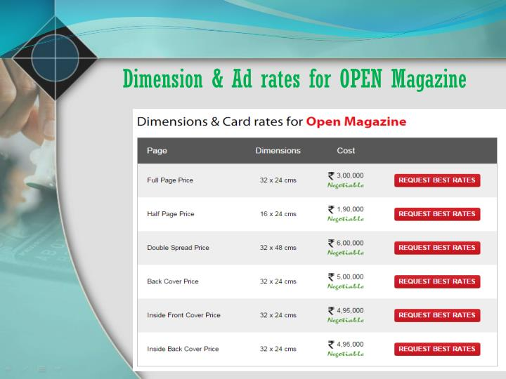Dimension & Ad rates for OPEN Magazine