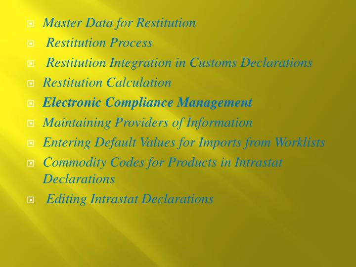 Master Data for Restitution