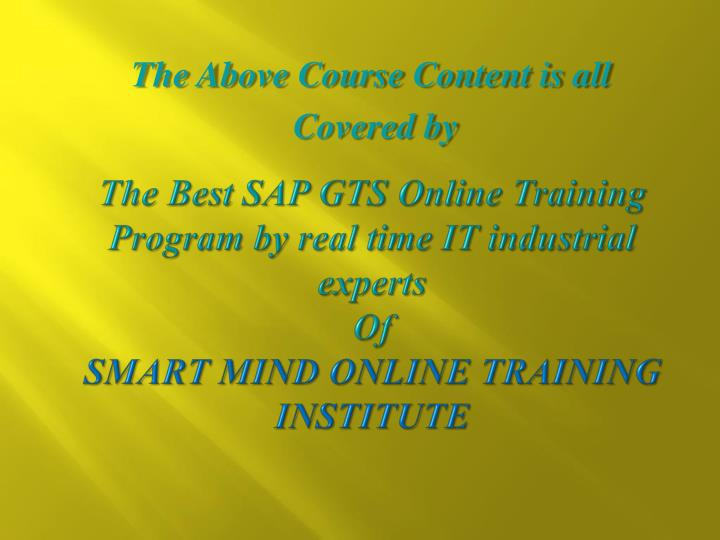 The Best SAP GTS Online Training Program by real time IT industrial experts