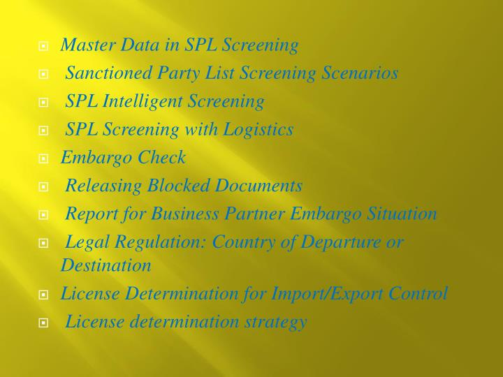 Master Data in SPL Screening