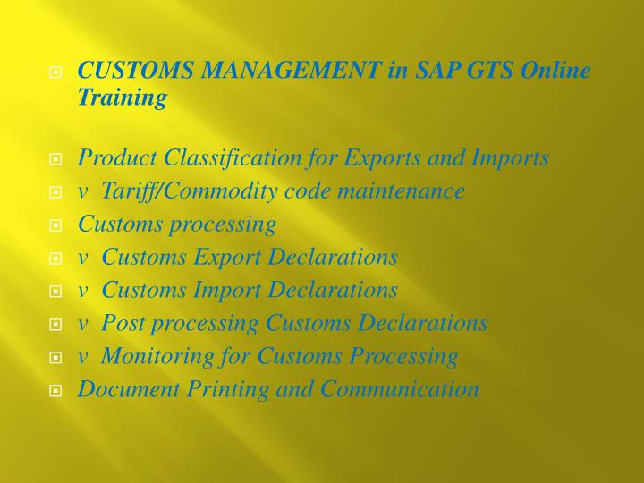 CUSTOMS MANAGEMENT in SAP GTS Online Training
