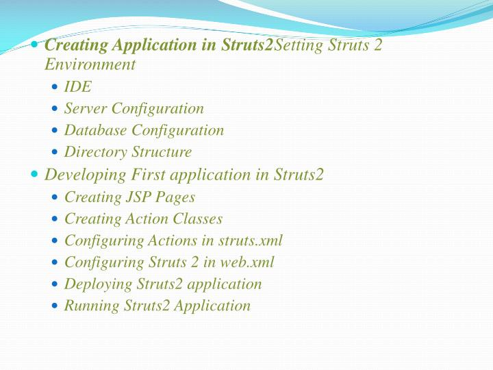 Creating Application in Struts2