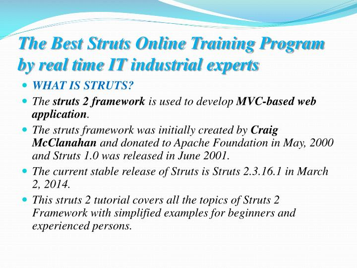 The best struts online training program by real time it industrial experts