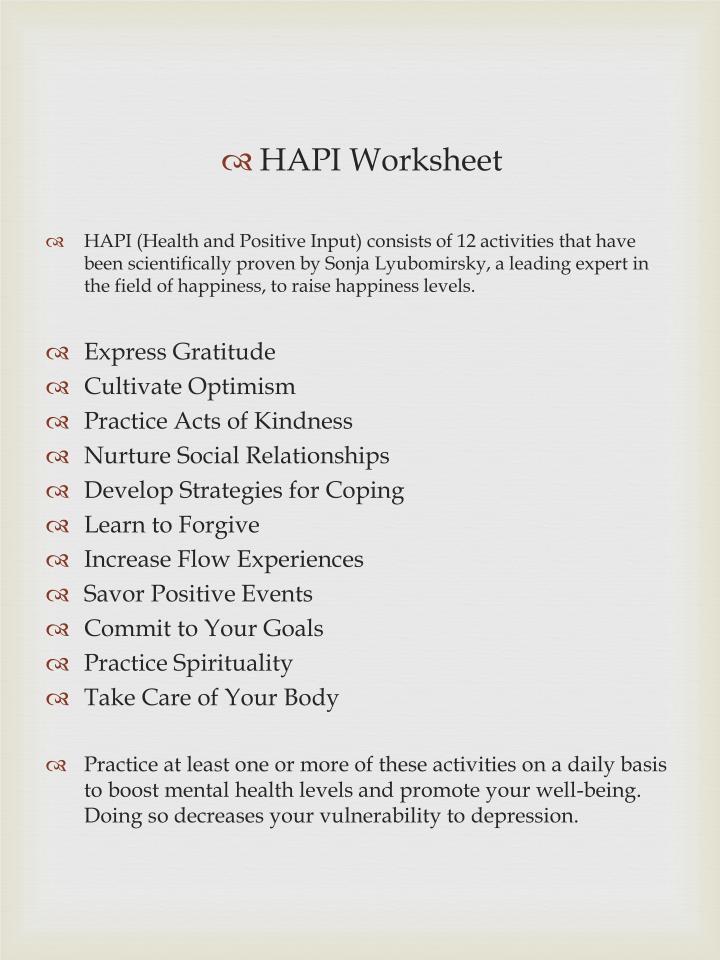 HAPI Worksheet