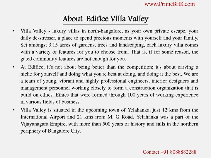 About edifice villa valley