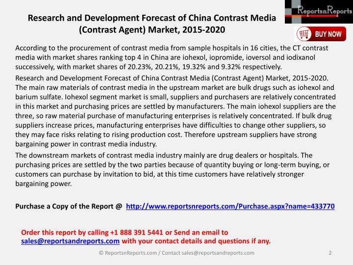 Research and development forecast of china contrast media contrast agent market 2015 20201