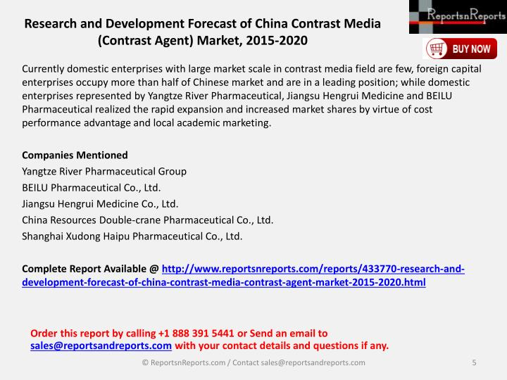 Research and Development Forecast of China Contrast Media (Contrast Agent) Market, 2015-2020