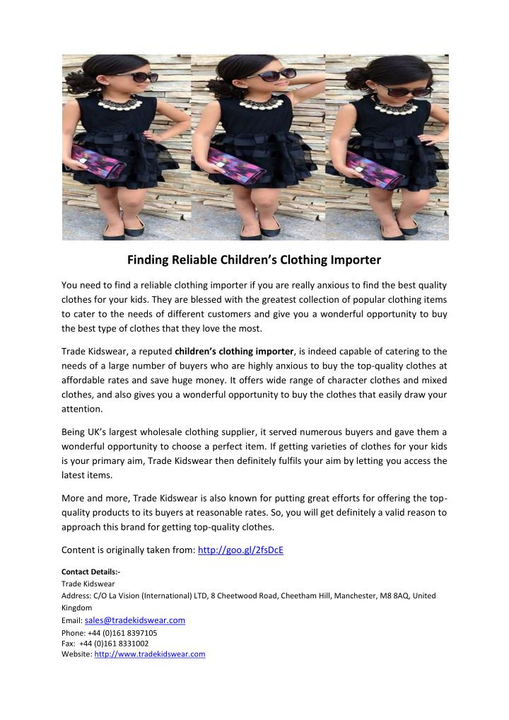 Finding Reliable Children's Clothing Importer
