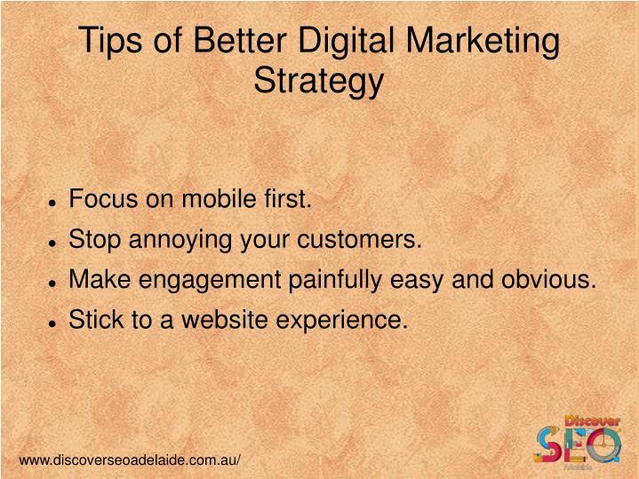 Tips of Better Digital Marketing Strategy