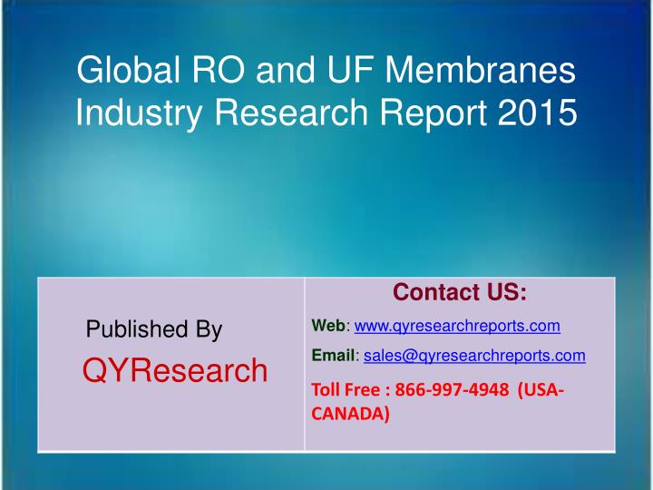 Global RO and UF Membranes
