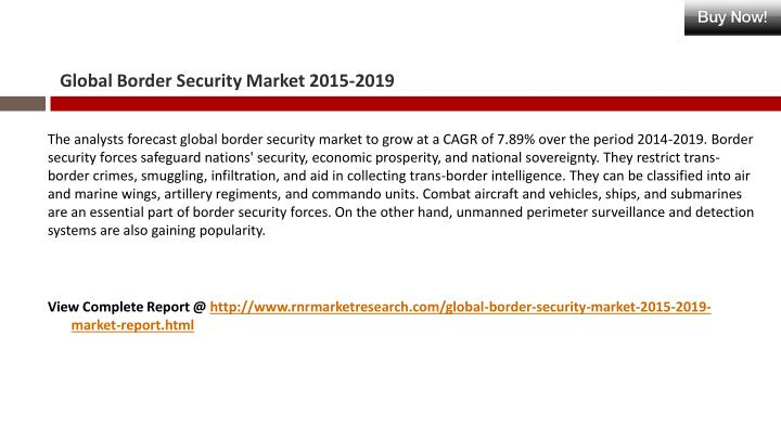 Global border security market 2015 20191