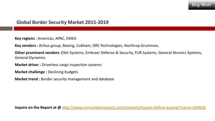 Global Border Security Market 2015-2019
