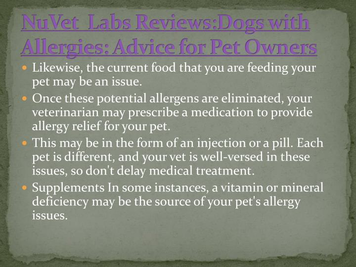 NuVet  Labs Reviews:Dogs with     Allergies: Advice for Pet Owners
