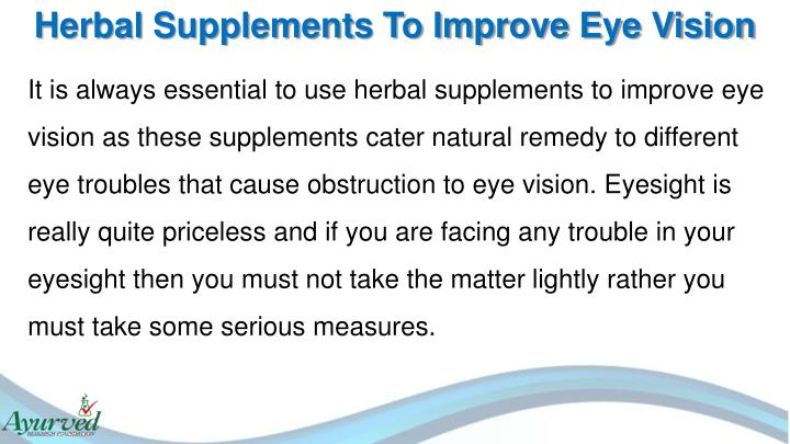 Herbal Supplements To Improve Eye Vision