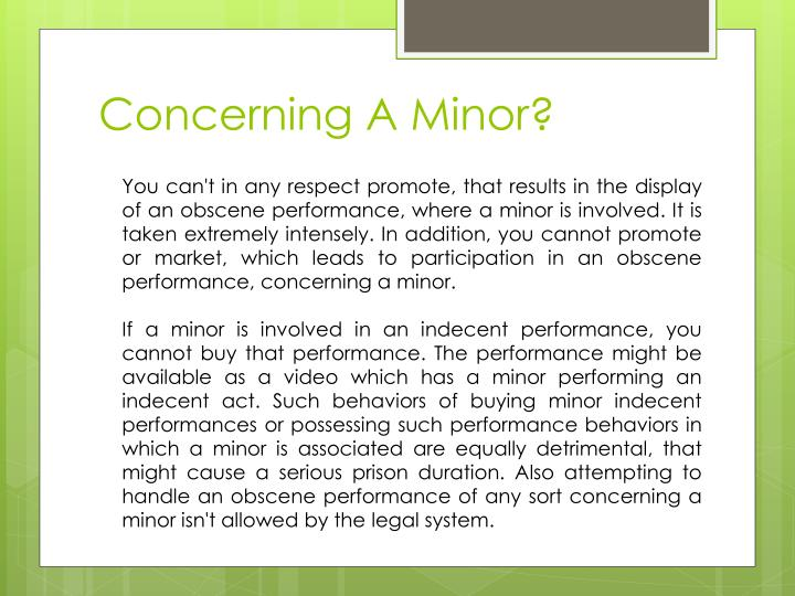 Concerning A Minor?