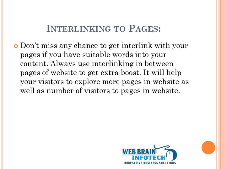 Interlinking to Pages: