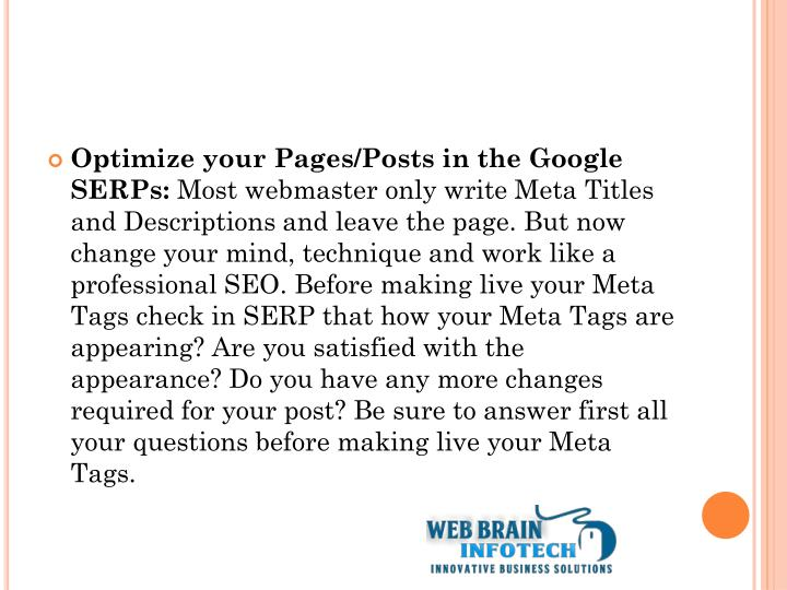 Optimize your Pages/Posts in the Google SERPs: