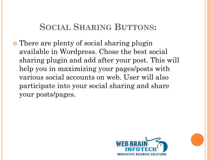 Social Sharing Buttons: