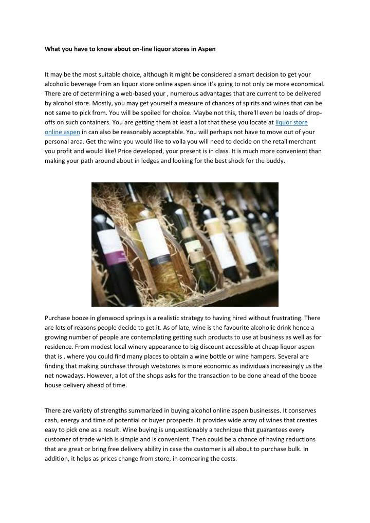 What you have to know about on-line liquor stores in Aspen